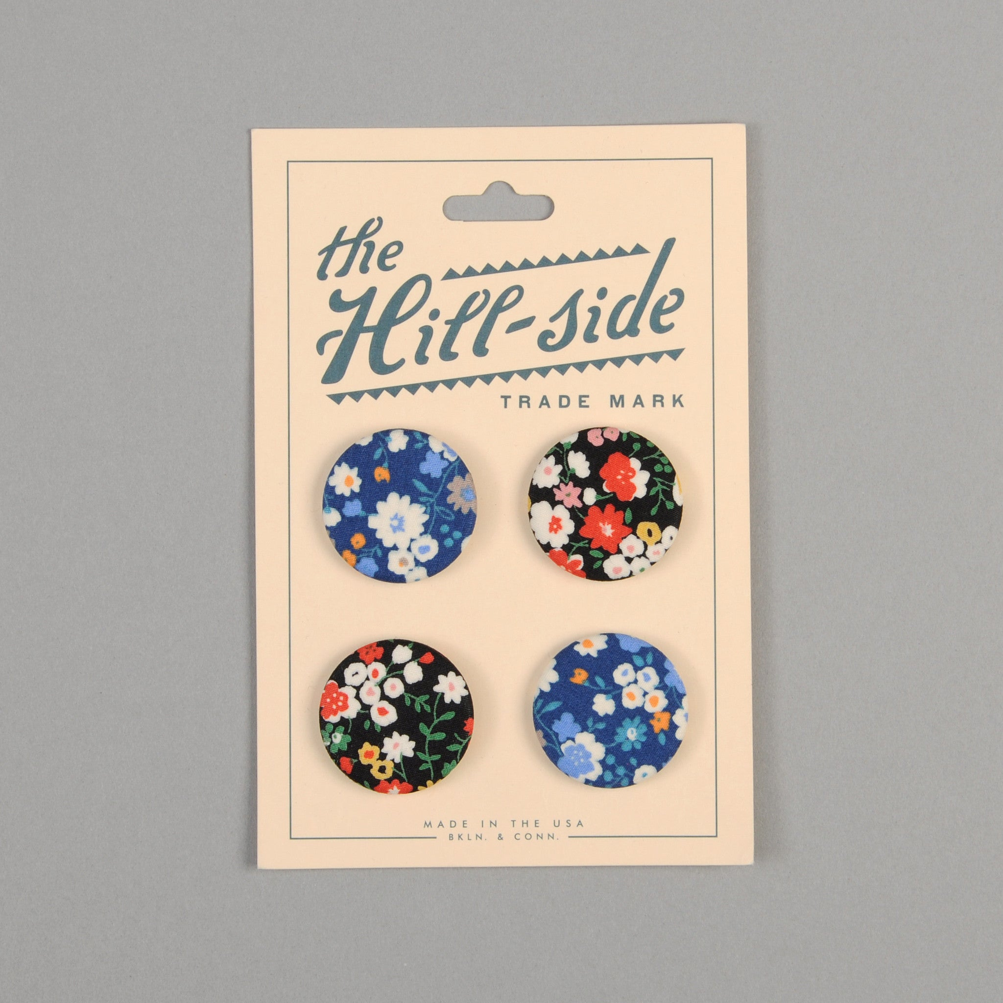 The Hill-Side Pin-Back Buttons, Two Florals
