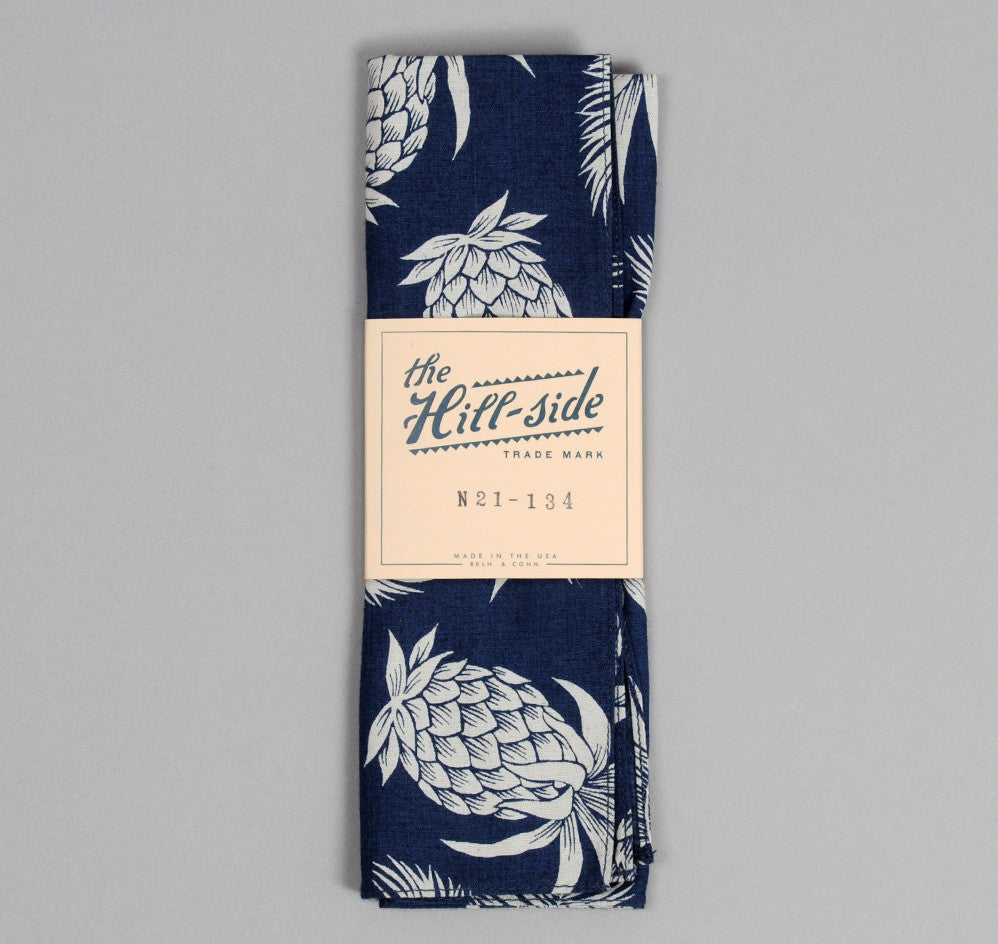 The Hill-Side - Pineapples Discharge Print Bandana, Indigo / White - image 1