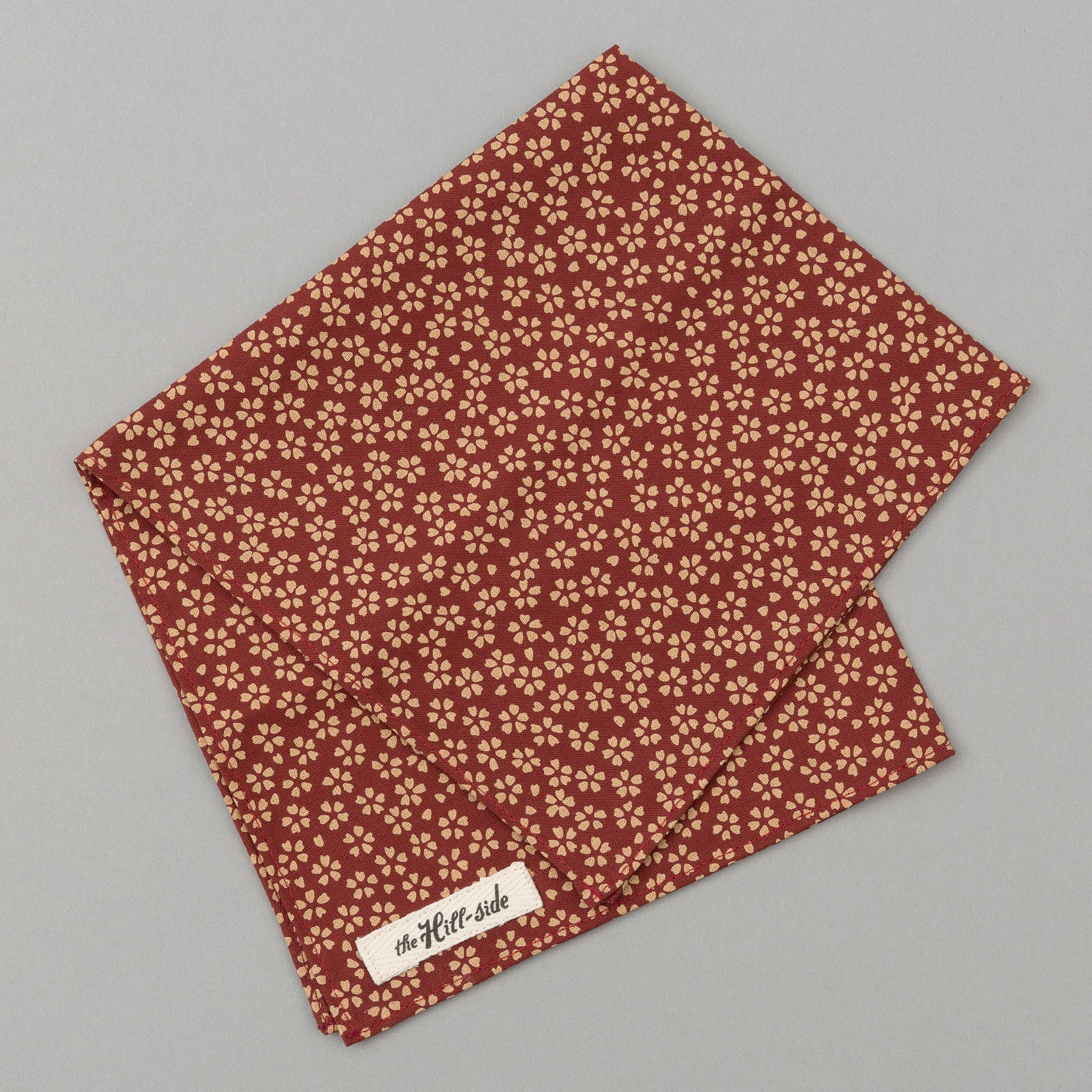 The Hill-Side - Plum Blossoms Print Pocket Square, Dark Red - PS1-485
