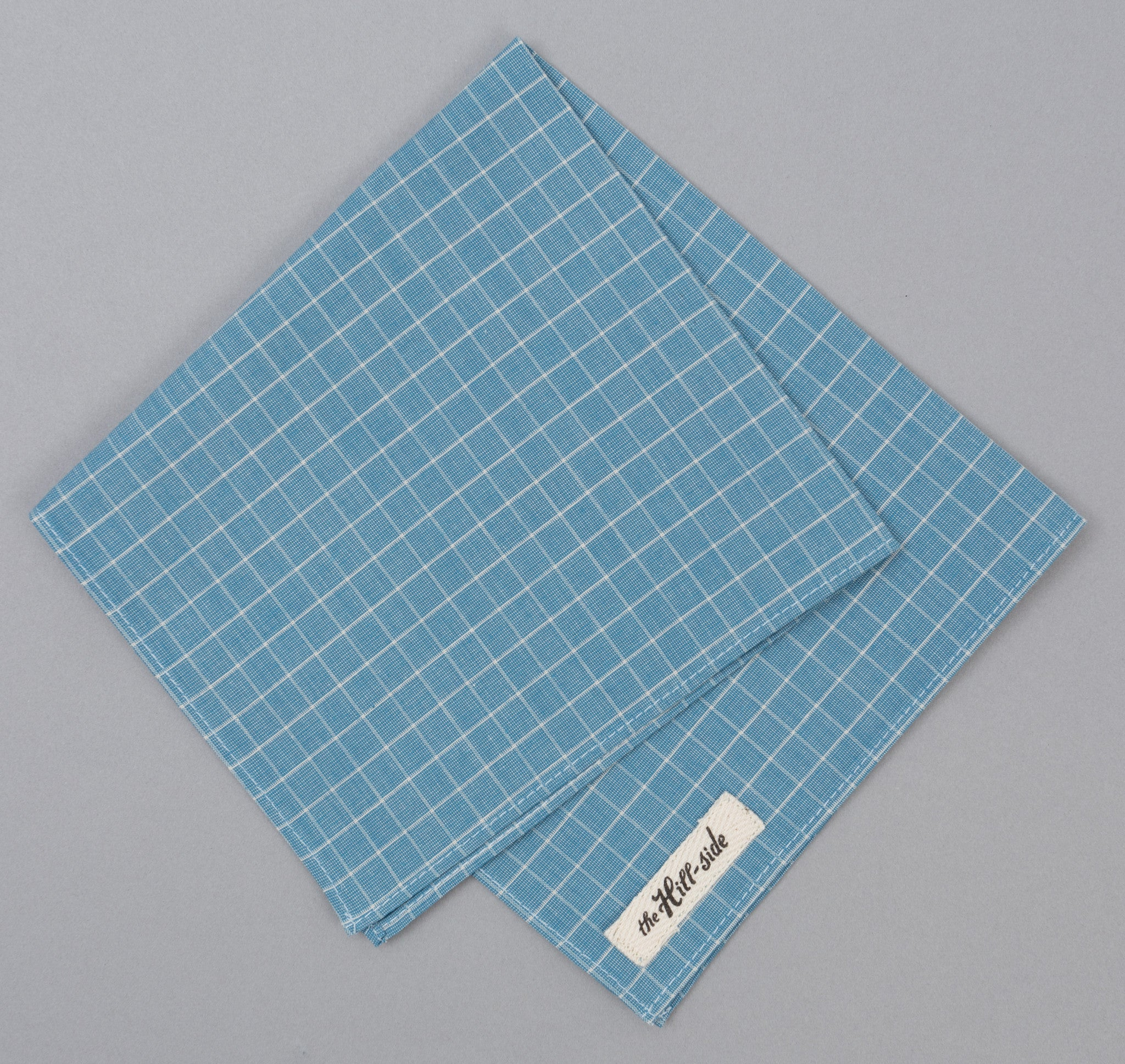 The Hill-Side - Pocket Square, End & End Windowpane Check, Light Indigo -
