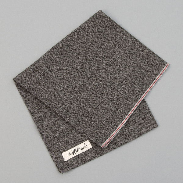 The Hill-Side - Pocket Square, Selvedge Covert Chambray, Warm Black - PS1-373 - image 1