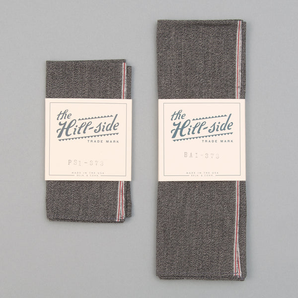 The Hill-Side - Pocket Square, Selvedge Covert Chambray, Warm Black - PS1-373 - image 2