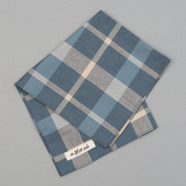 The Hill-Side - Pocket Square, Sulphur-Dyed Flannel Check, Slate Blue - PS1-376 - image 1