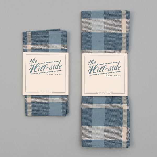 The Hill-Side - Pocket Square, Sulphur-Dyed Flannel Check, Slate Blue - PS1-376 - image 2