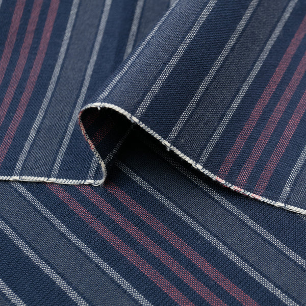The Hill-Side - Pocket Square, TH-S Mills Navy Warp Antique Japanese Stripe - PS1-365 - image 2