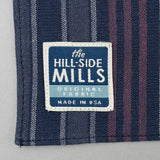 The Hill-Side - Pocket Square, TH-S Mills Navy Warp Antique Japanese Stripe - PS1-365 - image 3