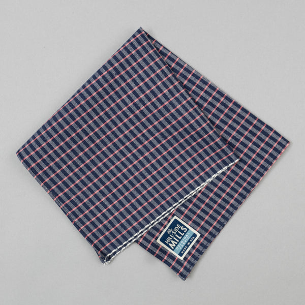 The Hill-Side - Pocket Square, TH-S Mills Navy Warp Grid Check, Natural & Coral - PS1-370 - image 1