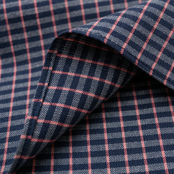 The Hill-Side - Pocket Square, TH-S Mills Navy Warp Grid Check, Natural & Coral - PS1-370 - image 2