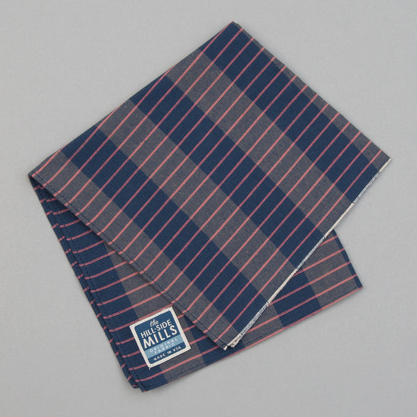 The Hill-Side - Pocket Square, TH-S Mills Navy Warp Large Grid Check, Beige & Coral - PS1-371 - image 1