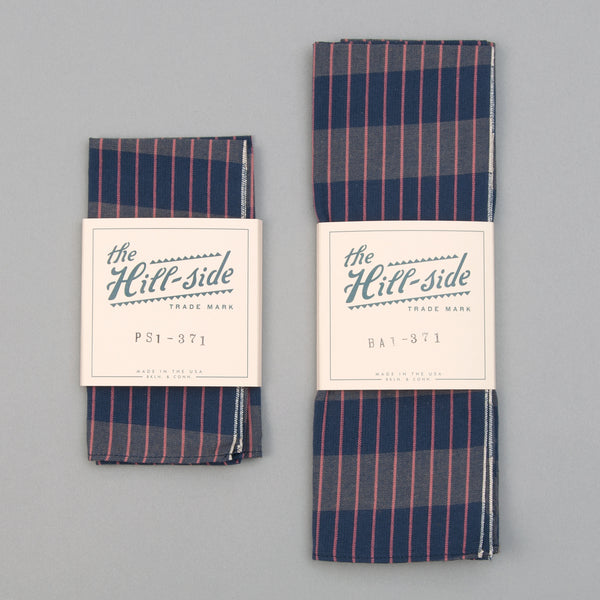 The Hill-Side - Pocket Square, TH-S Mills Navy Warp Large Grid Check, Beige & Coral - PS1-371 - image 2