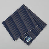 The Hill-Side - Pocket Square, TH-S Mills Navy Warp Waterfall Stripe, Navy & Biege - PS1-364 - image 1