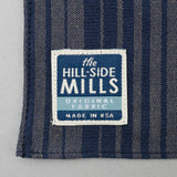 The Hill-Side - Pocket Square, TH-S Mills Navy Warp Waterfall Stripe, Navy & Biege - PS1-364 - image 3