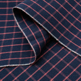 The Hill-Side - Pocket Square, TH-S Mills Navy Warp Windowpane Check, Coral - PS1-369 - image 2