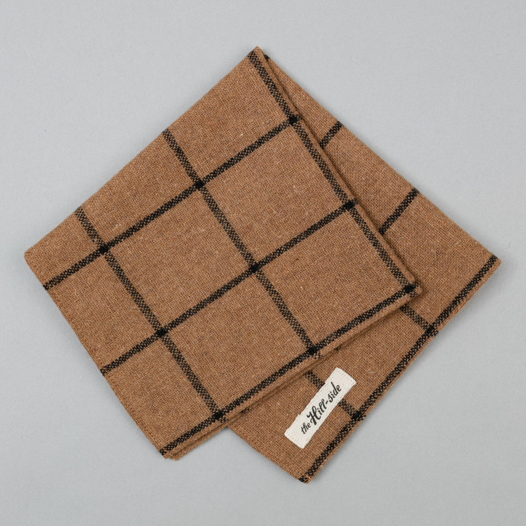 The Hill-Side - Pocket Square, Wool Blend Windowpane Check, Brown & Black - PS1-382 - image 1