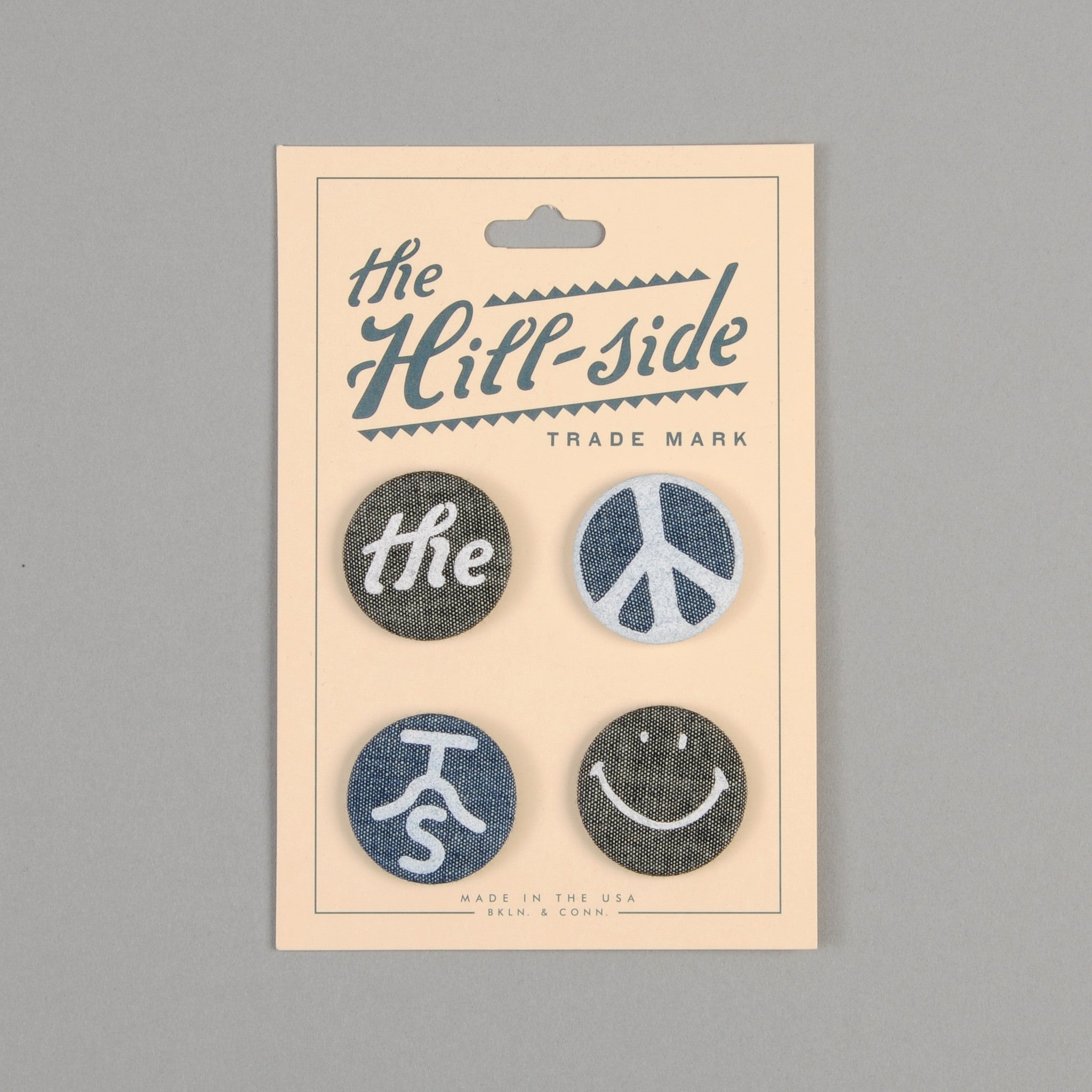 The Hill-Side - Printed Pin-Back Buttons, Two Chambrays - PB2-01