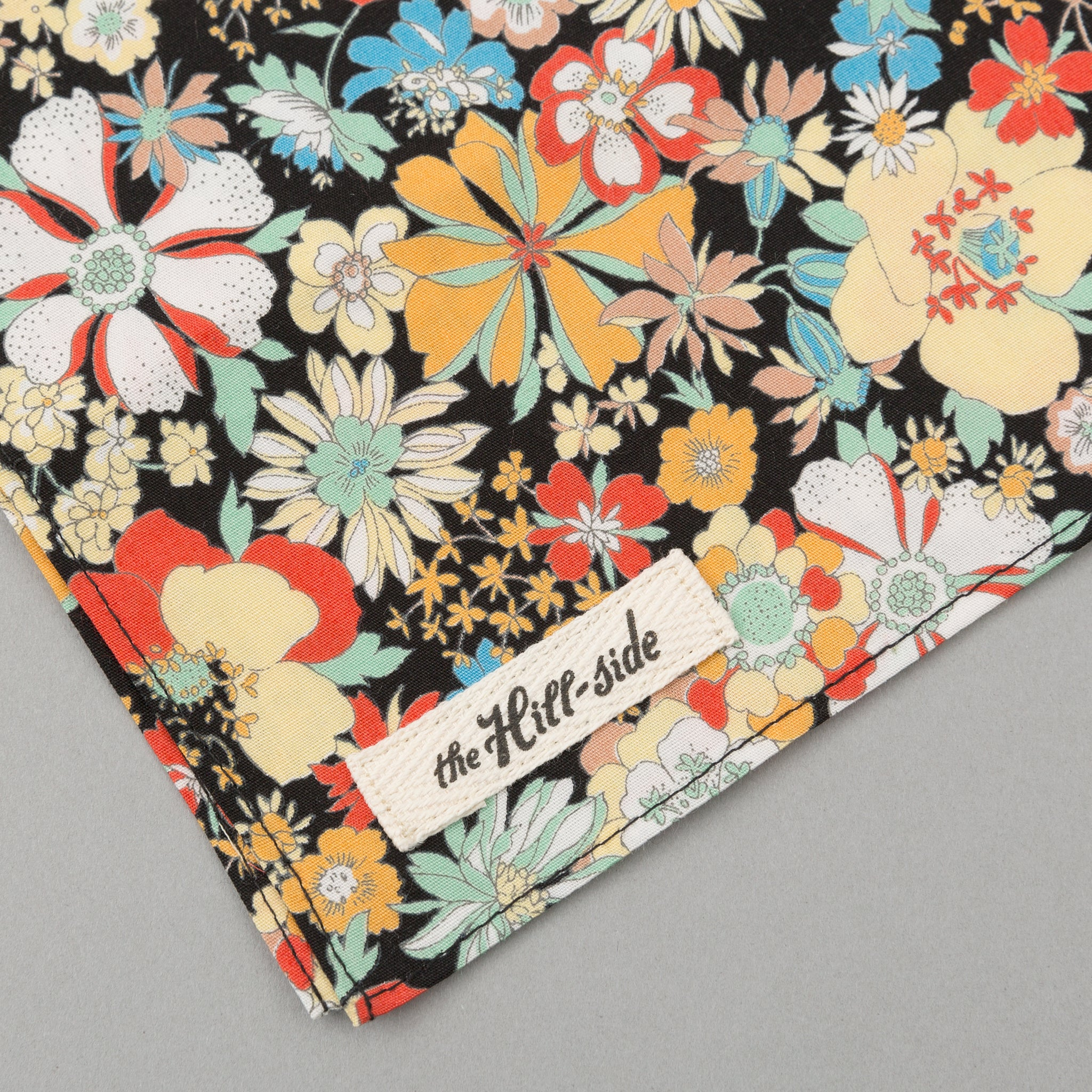 The Hill-Side - Psychedelic Floral Print Bandana, Black - BA1-489 - image 1