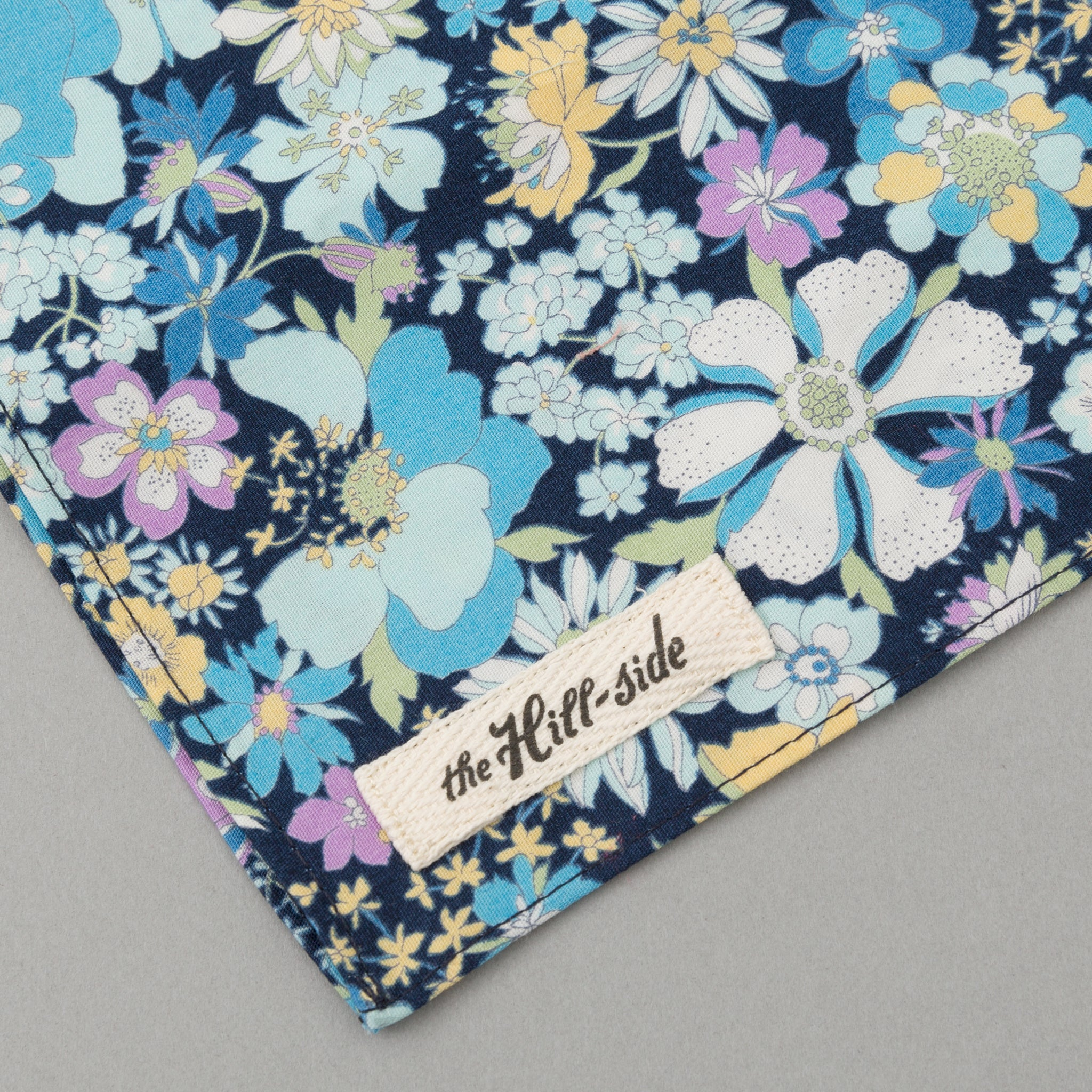 The Hill-Side - Psychedelic Floral Print Bandana, Blue - BA1-490 - image 1