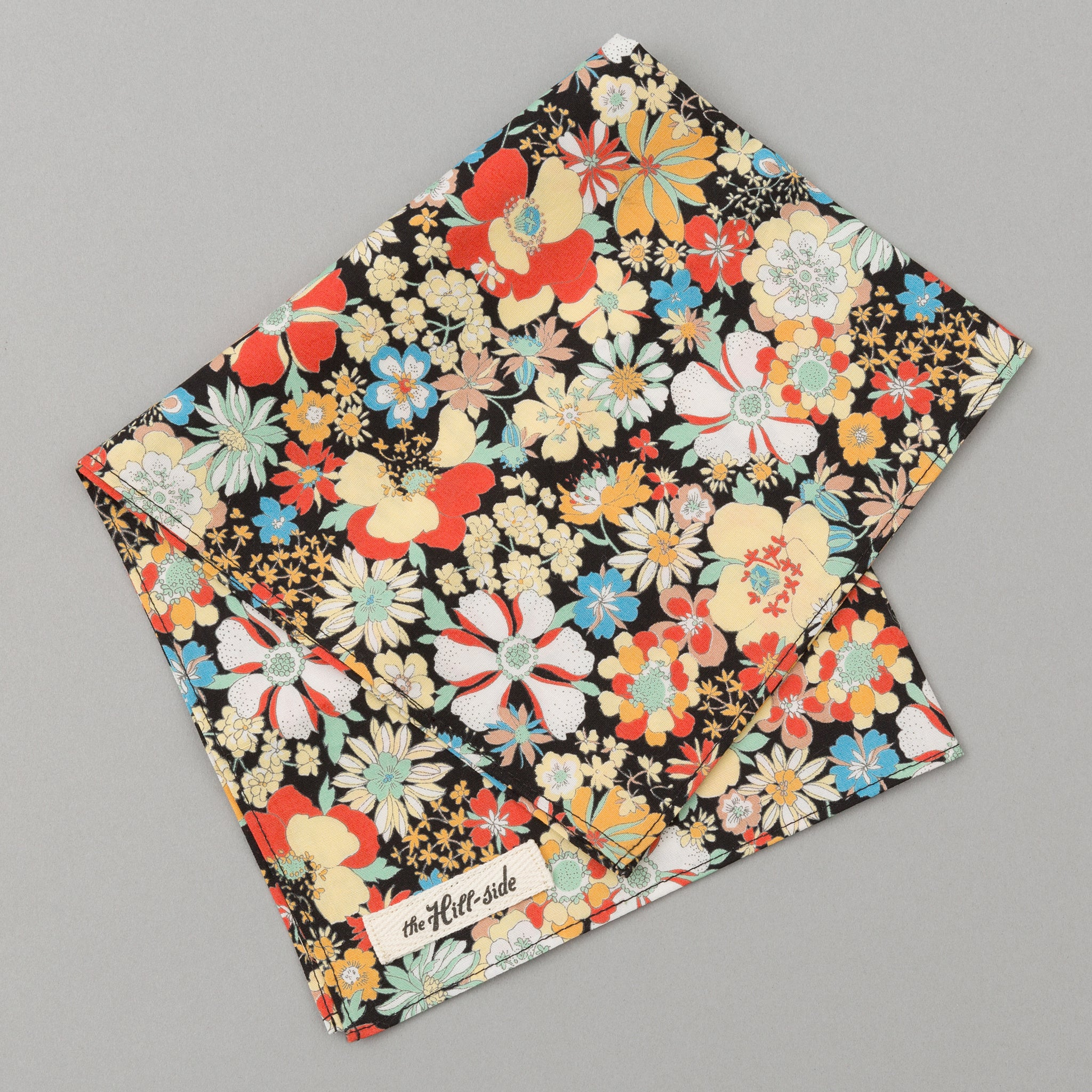 The Hill-Side - Psychedelic Floral Print Pocket Square, Black - PS1-489 - image 1
