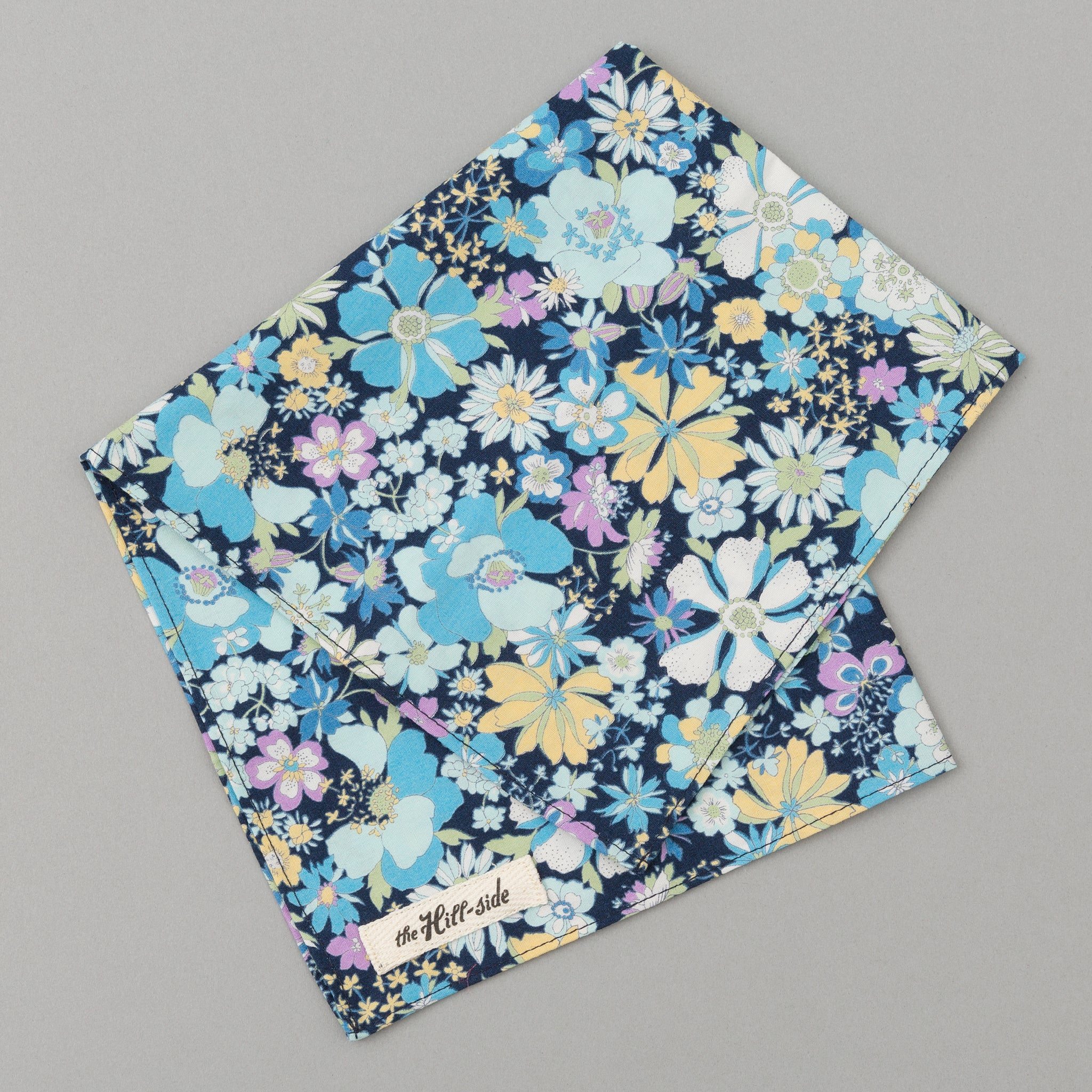 The Hill-Side - Psychedelic Floral Print Pocket Square, Blue - PS1-490 - image 1