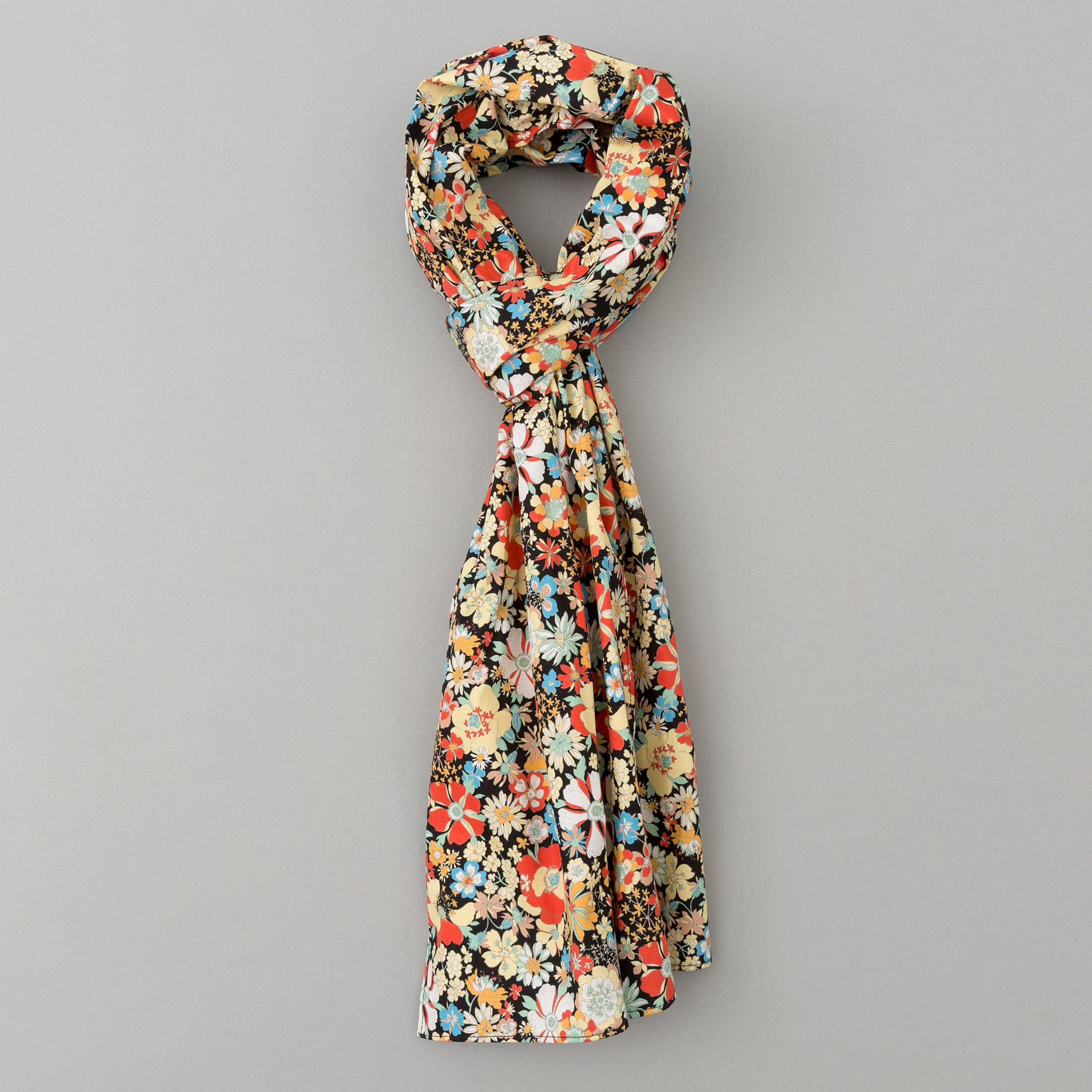 The Hill-Side - Psychedelic Floral Print Scarf, Black - SC1-489 - image 1