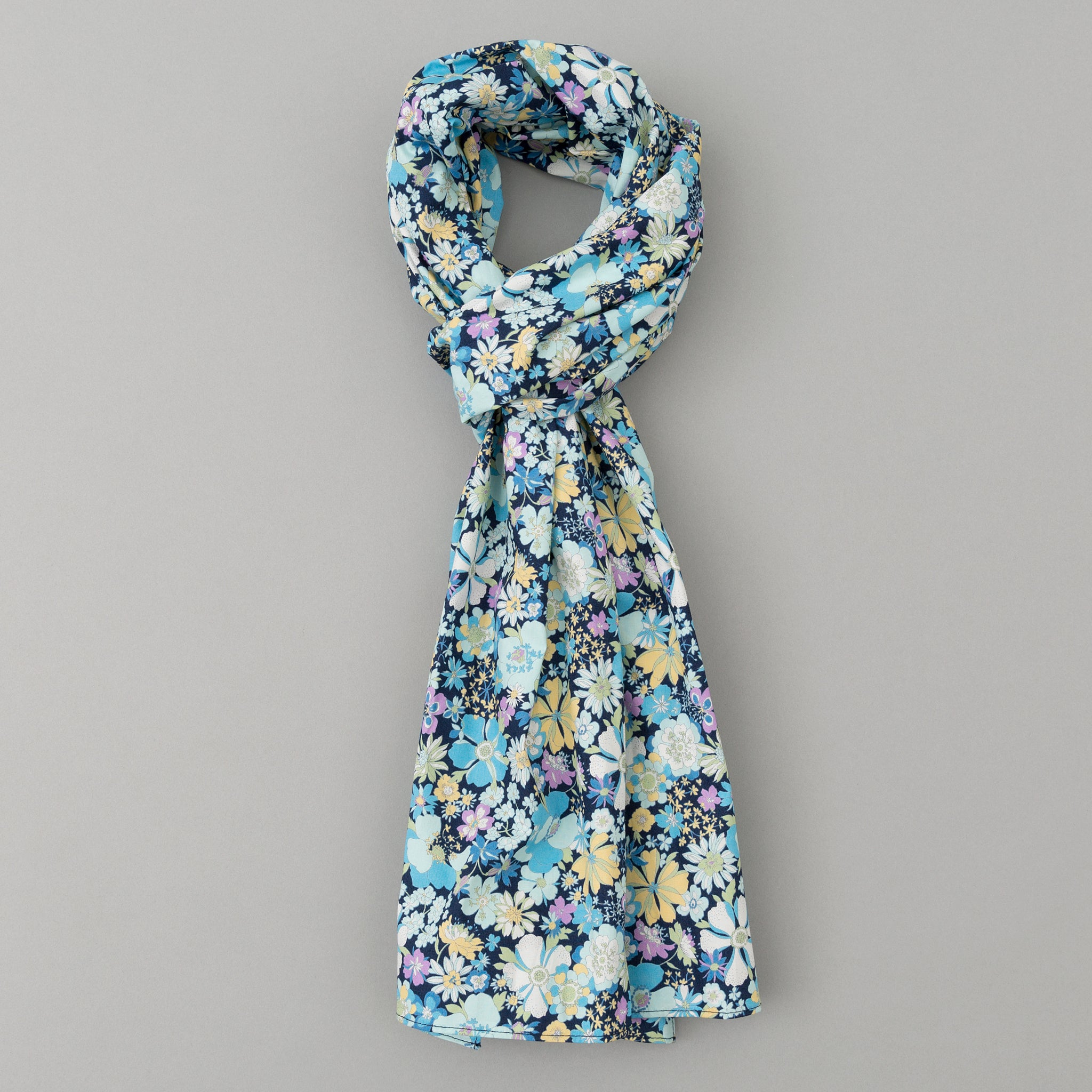 The Hill-Side - Psychedelic Floral Print Scarf, Blue - SC1-490 - image 1