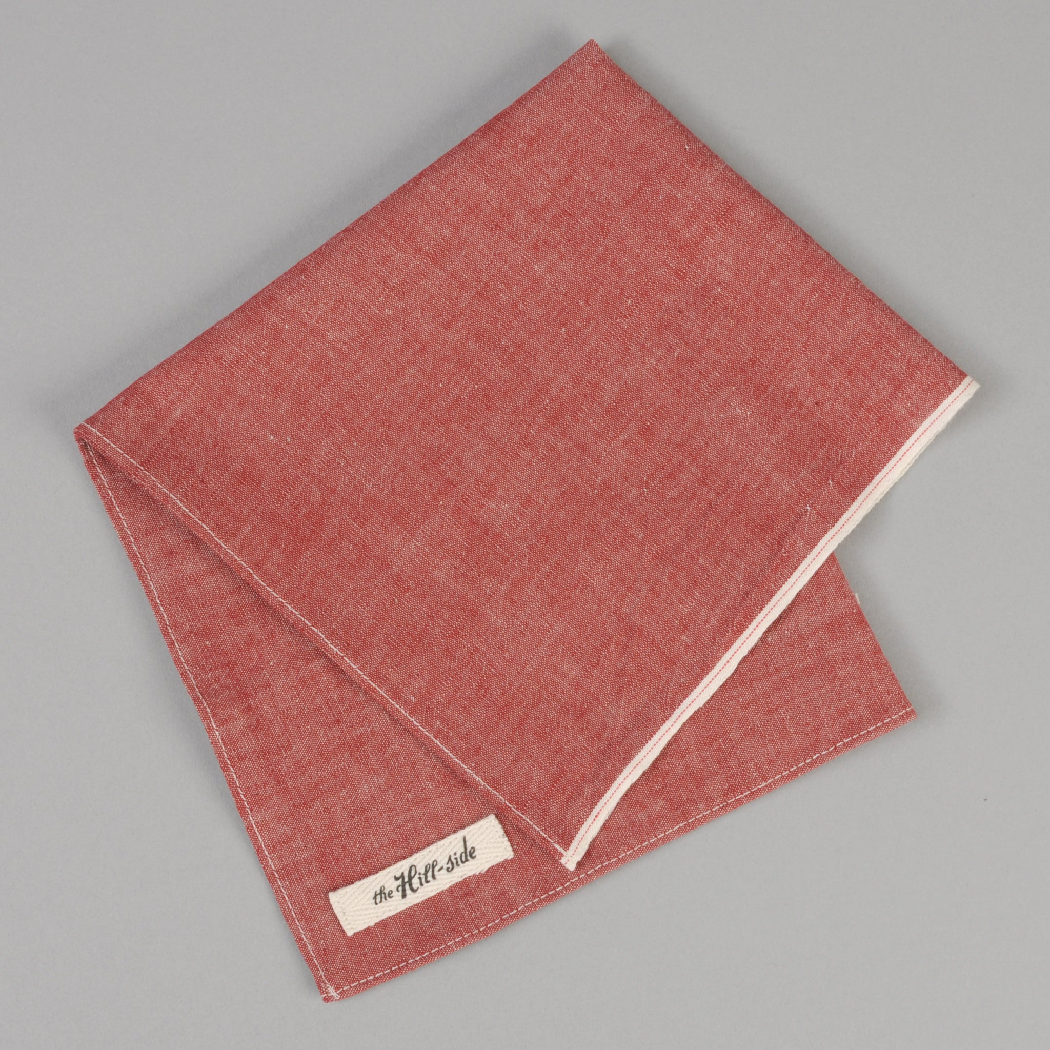 The Hill-Side - Red Chambray Pocket Square - PS1-003 - image 1