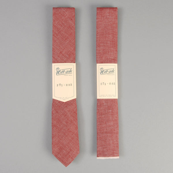 The Hill-Side - Red Chambray Tie - ST1-003 - image 2