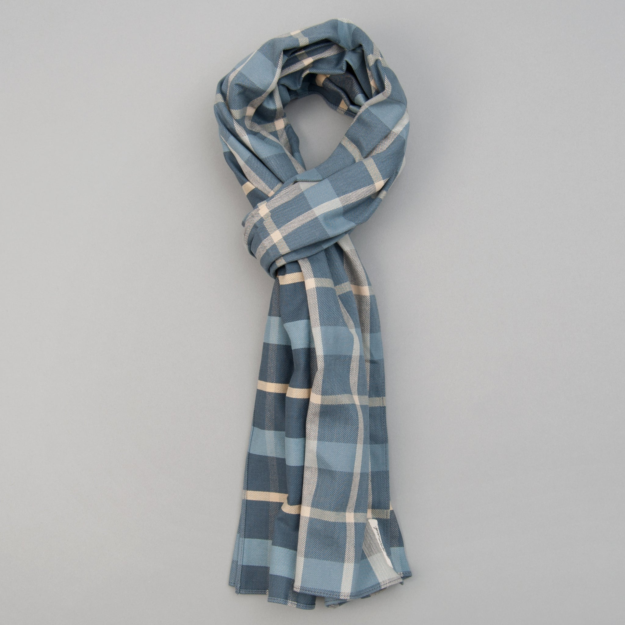 The Hill-Side - Scarf, Sulphur-Dyed Flannel Check, Slate Blue - SC1-376 - image 1
