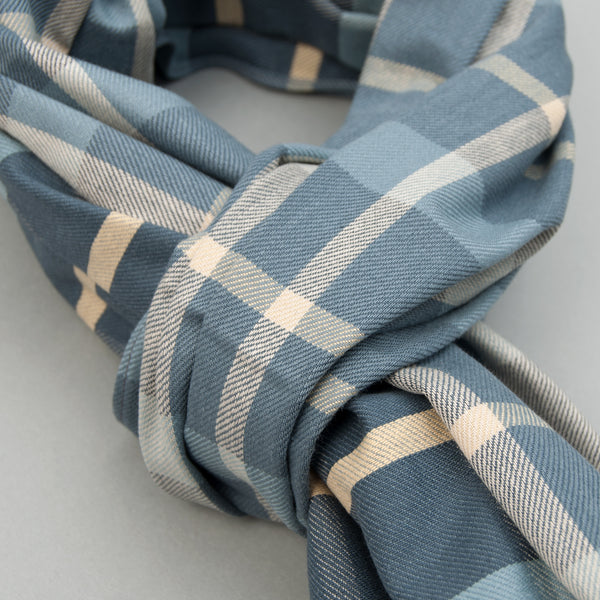 The Hill-Side - Scarf, Sulphur-Dyed Flannel Check, Slate Blue - SC1-376 - image 2