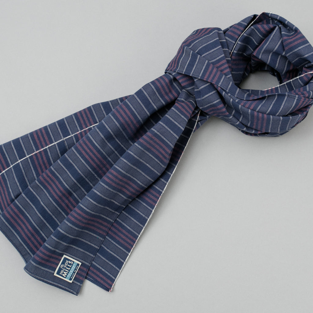 The Hill-Side - Scarf, TH-S Mills Navy Warp Antique Japanese Stripe - SC1-365 - image 1