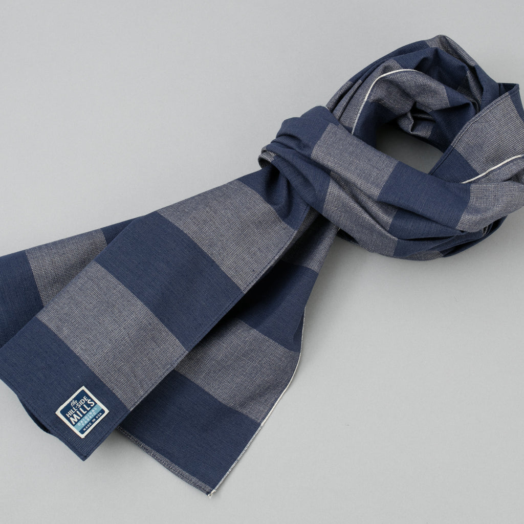 The Hill-Side Scarf, TH-S Mills Navy Warp Giant Border Stripe, Covert Beige & Slate Blue