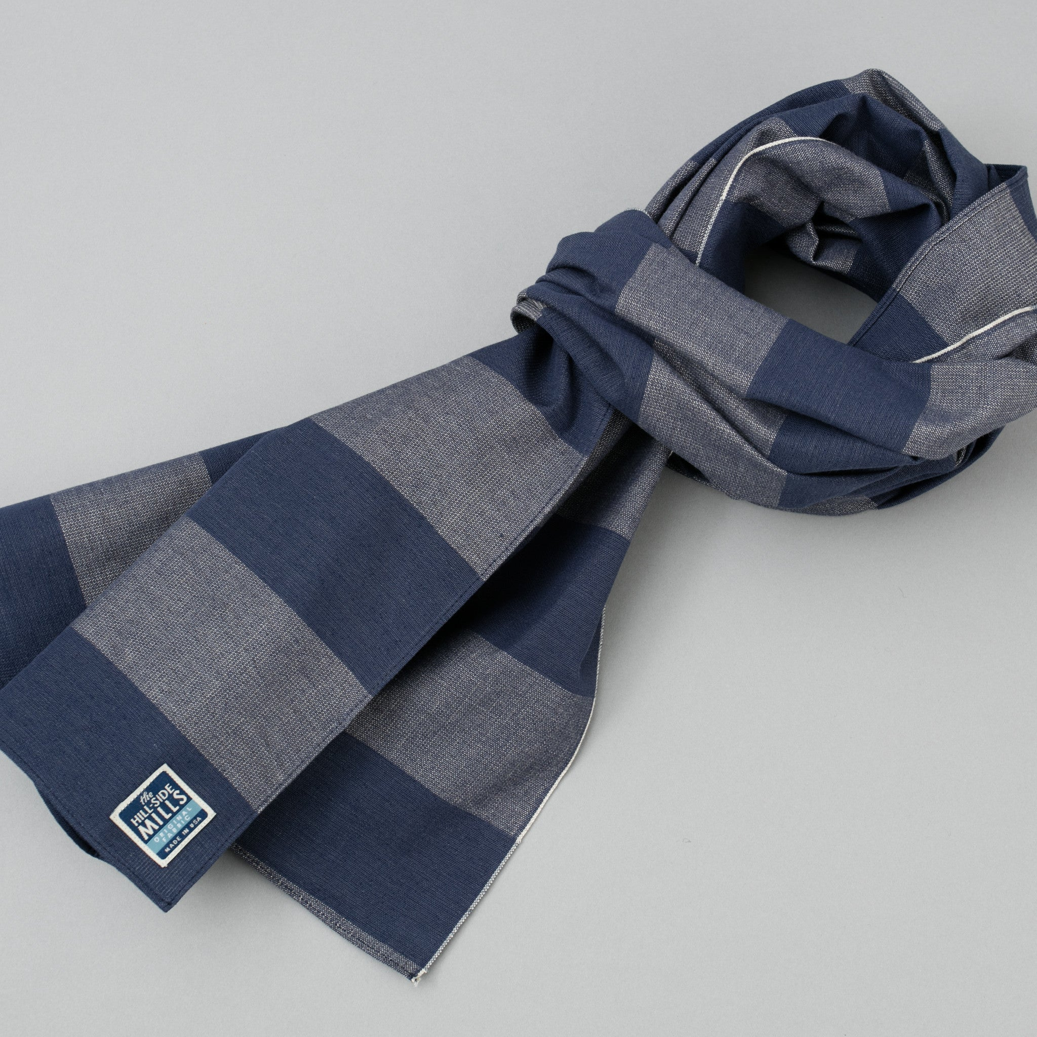 The Hill-Side - Scarf, TH-S Mills Navy Warp Giant Border Stripe, Covert Beige & Slate Blue - SC1-367 - image 1