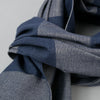 The Hill-Side - Scarf, TH-S Mills Navy Warp Giant Border Stripe, Covert Beige & Slate Blue - SC1-367 - image 2
