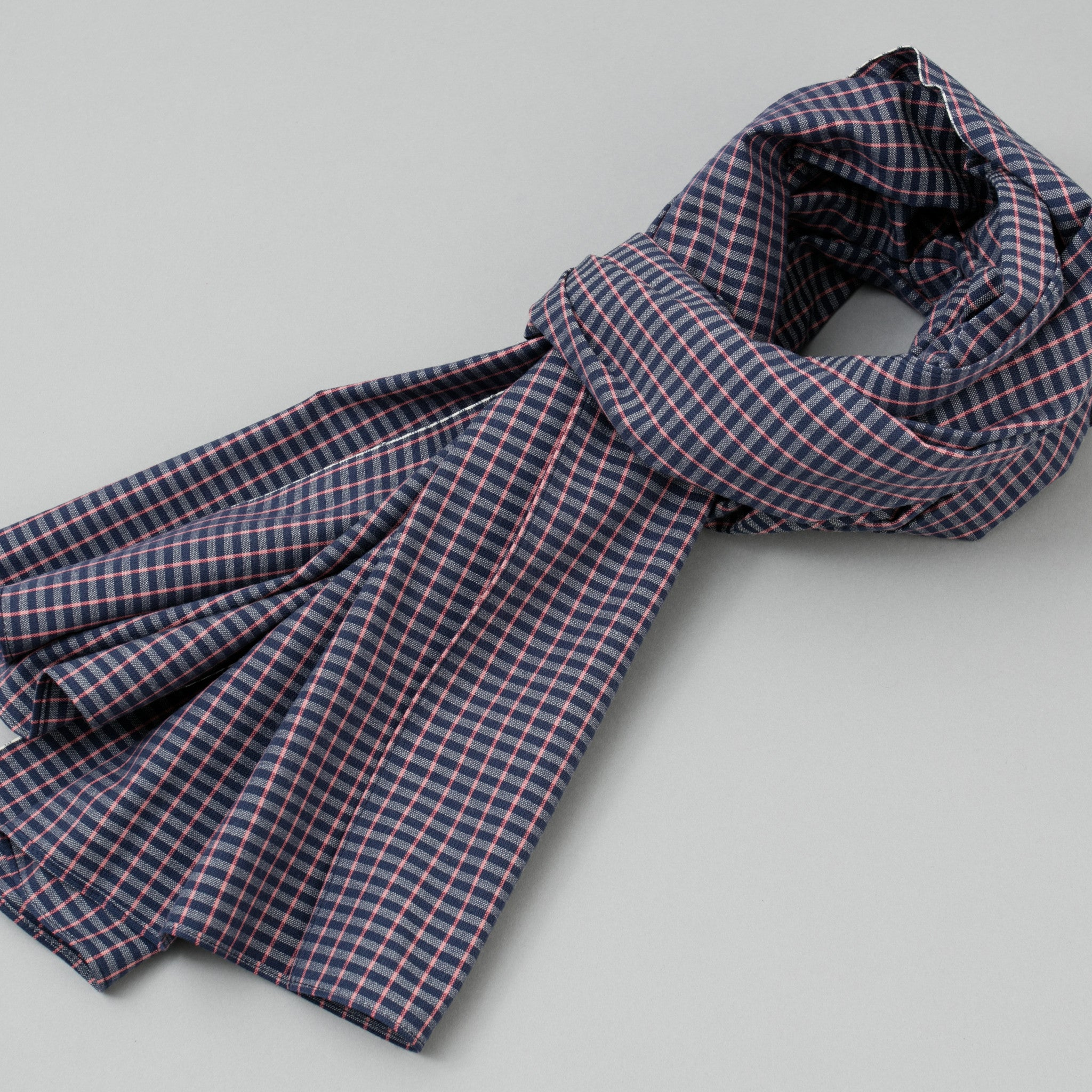 The Hill-Side - Scarf, TH-S Mills Navy Warp Grid Check, Natural & Coral - SC1-370 - image 1
