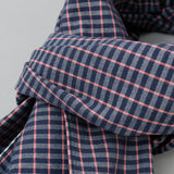 The Hill-Side - Scarf, TH-S Mills Navy Warp Grid Check, Natural & Coral - SC1-370 - image 2