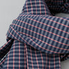 The Hill-Side Scarf, TH-S Mills Navy Warp Grid Check, Natural & Coral