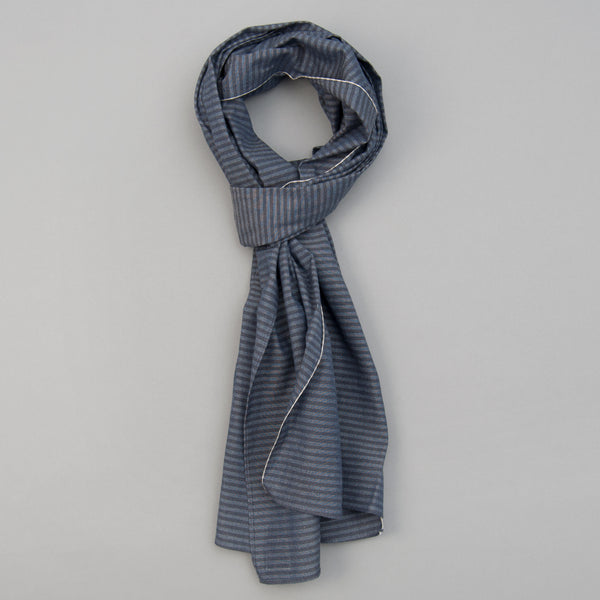 The Hill-Side - Scarf, TH-S Mills Navy Warp Hickory Stripe, Natural & Beige - SC1-372 - image 1