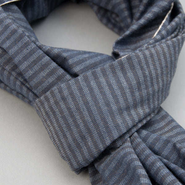 The Hill-Side - Scarf, TH-S Mills Navy Warp Hickory Stripe, Natural & Beige - SC1-372 - image 2