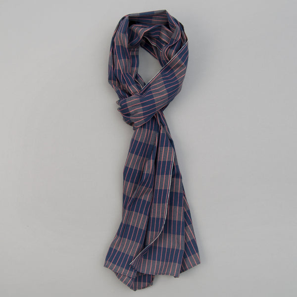 The Hill-Side - Scarf, TH-S Mills Navy Warp Large Grid Check, Beige & Coral - SC1-371 - image 1