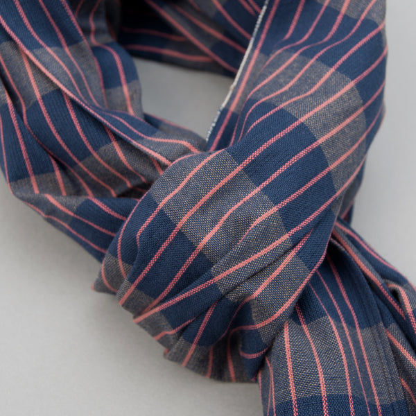 The Hill-Side - Scarf, TH-S Mills Navy Warp Large Grid Check, Beige & Coral - SC1-371 - image 2