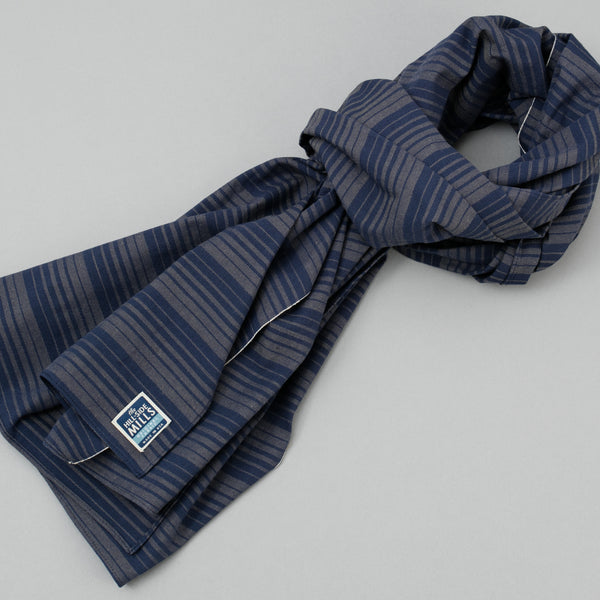 The Hill-Side - Scarf, TH-S Mills Navy Warp Waterfall Stripe, Navy & Biege - SC1-364 - image 1