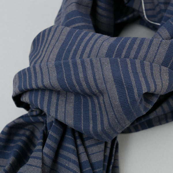 The Hill-Side - Scarf, TH-S Mills Navy Warp Waterfall Stripe, Navy & Biege - SC1-364 - image 2