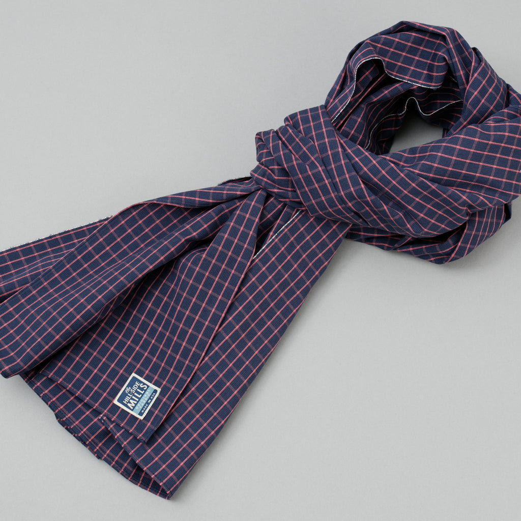 The Hill-Side Scarf, TH-S Mills Navy Warp Windowpane Check, Coral