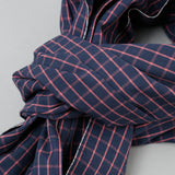 The Hill-Side - Scarf, TH-S Mills Navy Warp Windowpane Check, Coral - SC1-369 - image 2