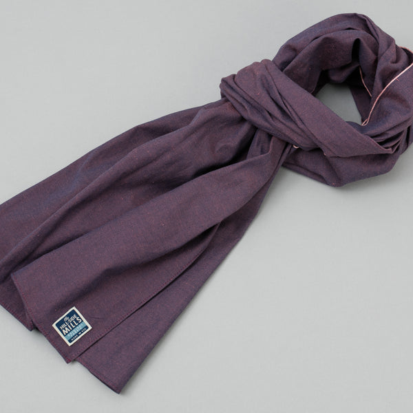 The Hill-Side - Scarf, TH-S Mills Navy Warp x Coral Weft Chambray - SC1-368 - image 1