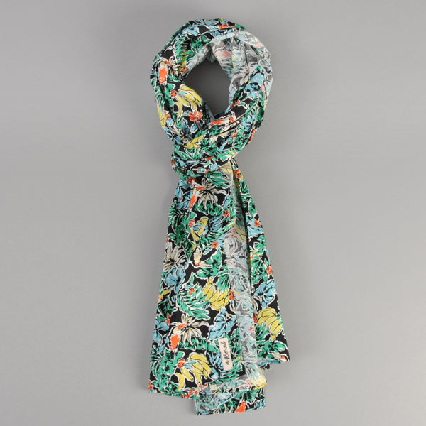 The Hill-Side - Scarf, Toucans & Bananas Print, Black - SC1-457 - image 1