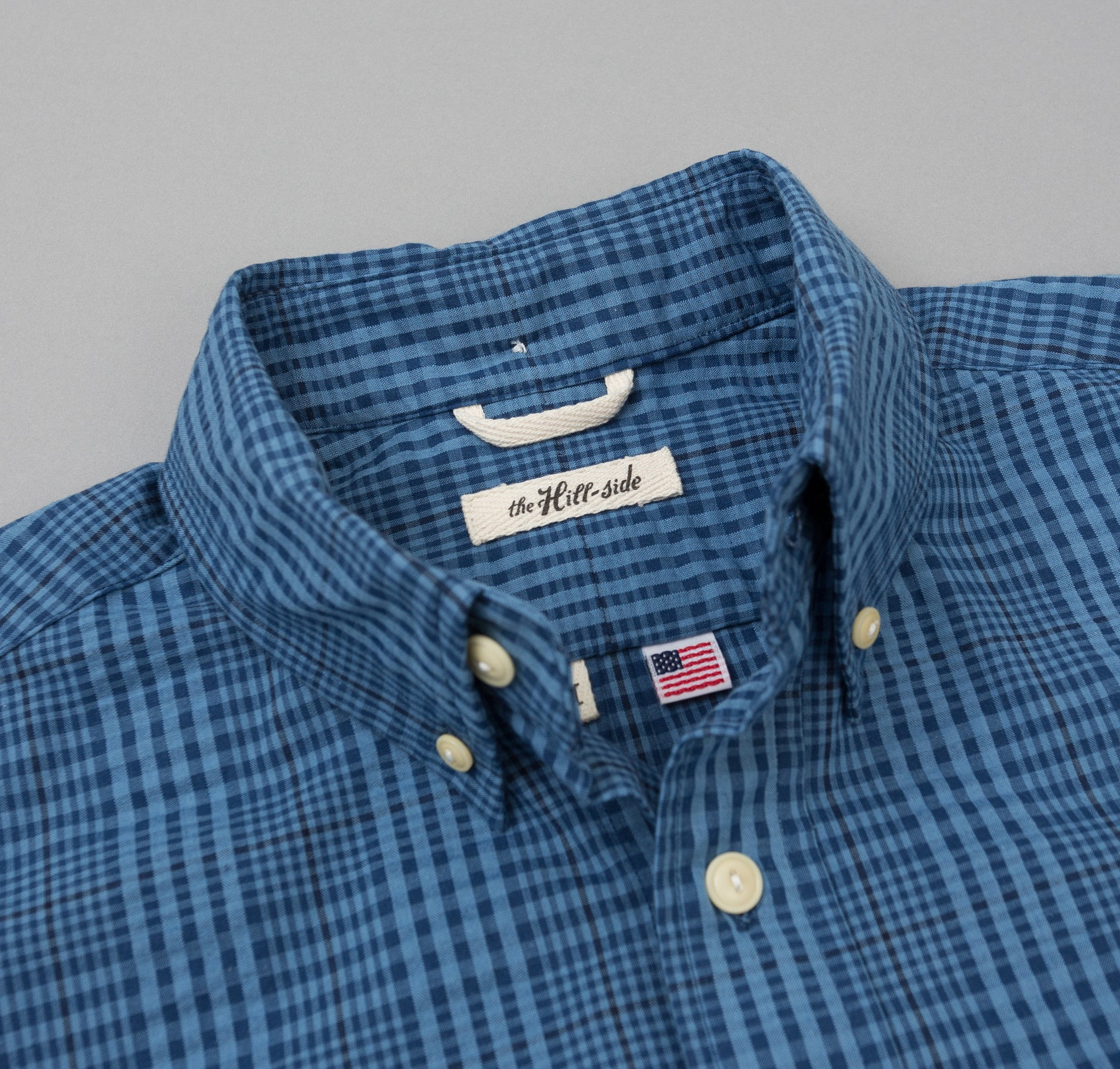 The Hill-Side Seersucker Check Long Sleeve Standard Shirt, Indigo