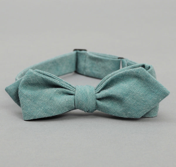 The Hill-Side - Selvedge Chambray Bow Tie, Turquoise - BT1-071 - image 1