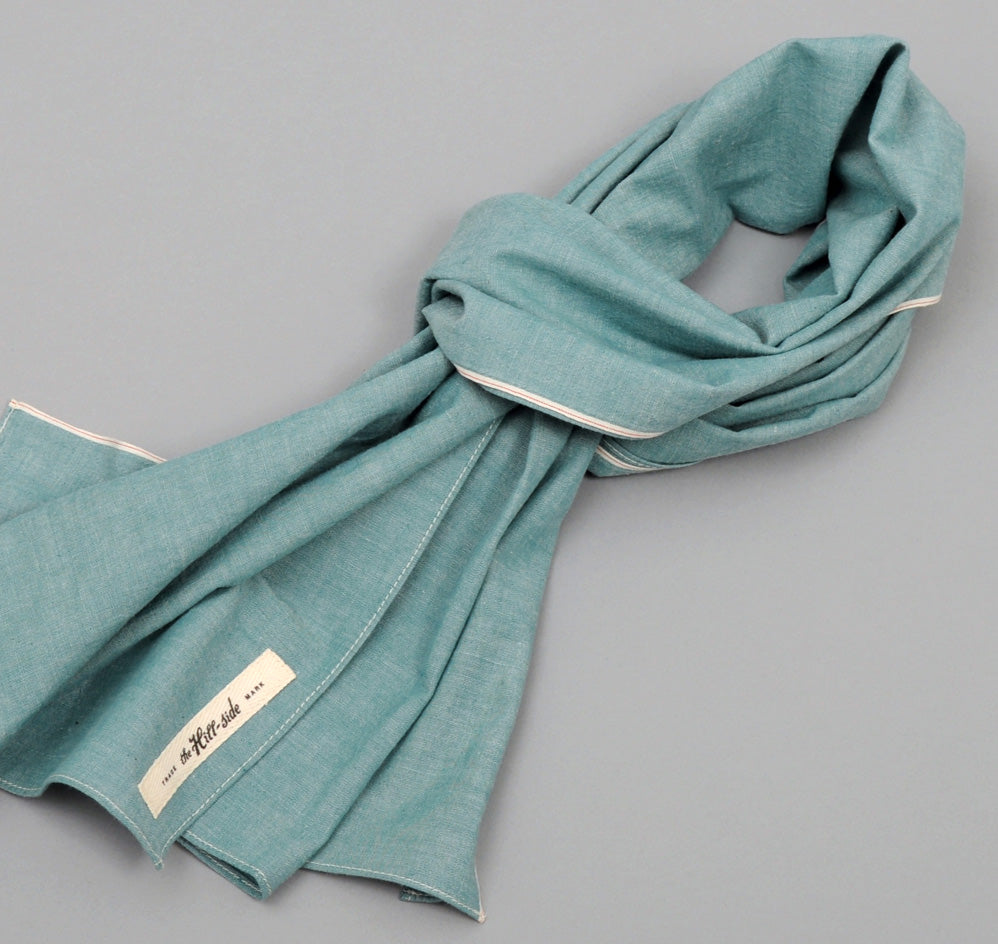 The Hill-Side Selvedge Chambray Large Scarf, Turquoise