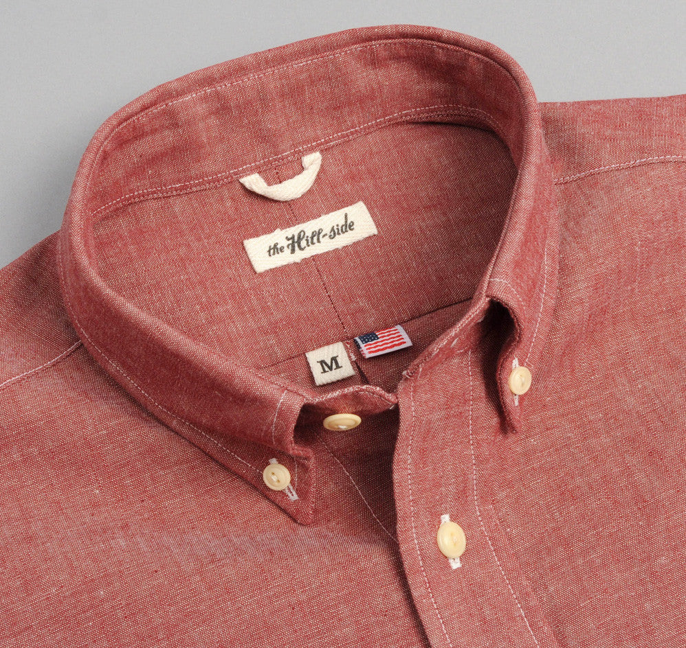 The Hill-Side - Selvedge Chambray Long Sleeve Standard Shirt, Red - SH1-003 - image 1